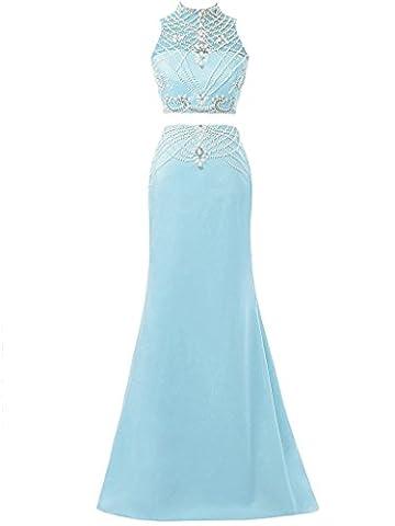 Solovedress Frauen wulstige zwei 2 Stück Ballkleid Abendkleid lange Brautjungfer für Hochzeitskleid (Hellblau, Eur34)