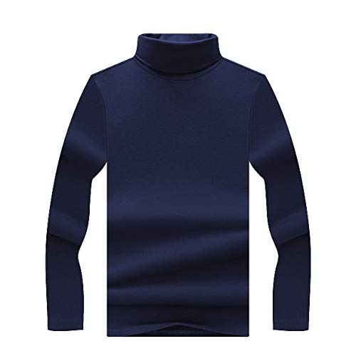 CuteRose Mens Turtleneck Long-Sleeve Fall Winter Oversized Tees Shirts Blue M Blue Floral Turtleneck