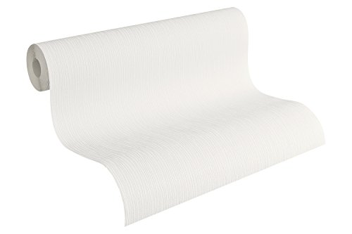 A.S. Création Stukturprofiltapete Simply White Tapete 10,05 m x 0,53 m weiß Made in Germany 541260 5412-60
