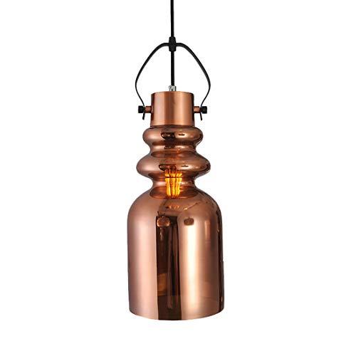 HäNgende Lampe Der Retro- Glocke Der Industriellen Kleinen Glocke Des Spiegelglasleuchters FüR Restaurantbar-Schlafzimmerflur,Red-brown -
