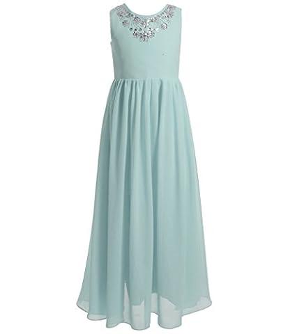 FAIRY COUPLE Girl's Spaghetti Strap Puffy Ruffled Long Flower Girl Dress K0149 8 Baby Blue
