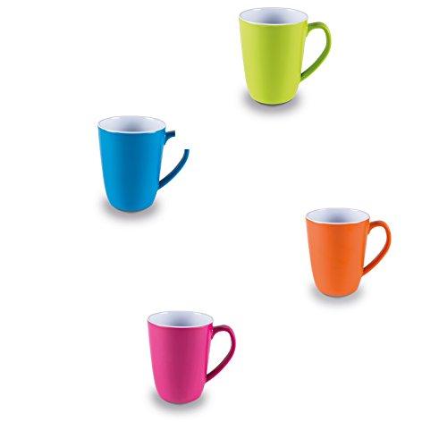 Melamin Tassenset in frischen Farben 4 Stück aus spülmaschinengeeignet bunt • Campinggeschirr Geschirr Personen Picknick Camping Geschirrset
