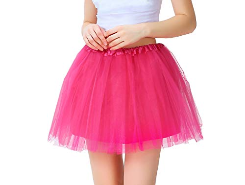 42604e838d4af4 Tutu Damen Tüll Rock Tüllrock 50er 80er Kurz Ballet 3 Layers Tanzkleid  Unterröcke Trachtenröcke Zubehör für Frauen Mädchen, 7 Farben (Rosa)