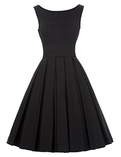 50s retro kleid damen festliches kleid hepburn stil schwarz cocktailkleid knielang M BP091-1