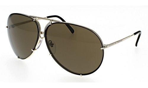 Porsche Design Lunettes de soleil P8478 Light gold / Brown + set of light blue, silver mirrored lenses, 66mm