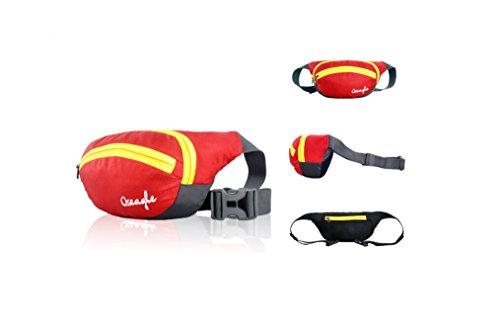 Outdoor peak NYLON Herren Damen Fahrrad tragbaren Taschen Messenger Bag Hüfttasche Gürteltasche Bauchtasche (rot) rot