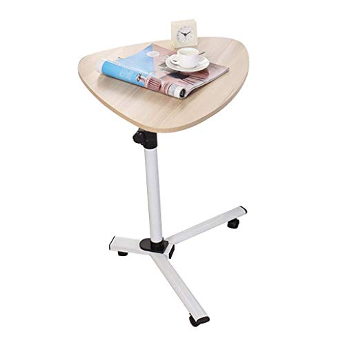 Tragbare PC Laptop Tisch Workstation Gaming Computer Schreibtisch Stand Tray | Standplatzwagen | Einstellbare Höhe | Desktop 360 ° schwenkbar | Mit Rädern weißer Ahorn Farbe