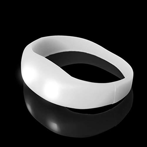 (Weiß -LED-Armband Großes Beleuchtetes Glühen Bewegungsgesteuertes Glühen-Armband Leuchtet Pulsierende Partyschläge auf blinkende Armbänder Tänze Partys Raves Adult und Walking oder Dark Safety)