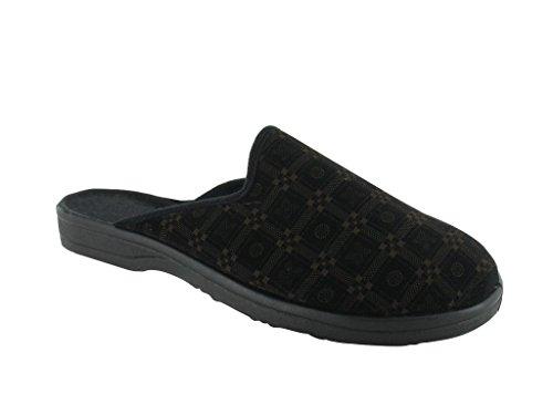 Mens Slippers. installer de mulet, semelle intérieur/extérieur pour la détente et de confort. noir/marron
