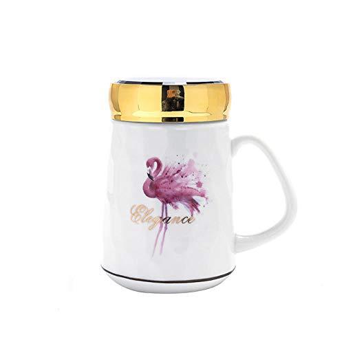 JJLEzlAM Tazas De Café Tazas De Desayuno Tazas De Té Creativo Simple Taza De Cerámica Cubierta para Espejo De Dibujos Animados Taza De Oficina Taza De Regalo Taza De Estudiante con Ceremonia De Mano