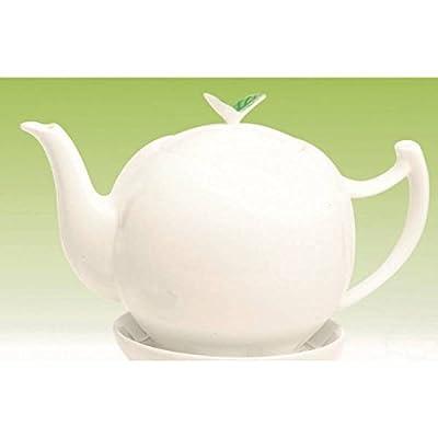 Théière en Porcelaine Tea Time Feuilles pour 1L Blanc Bone China Tea Logic