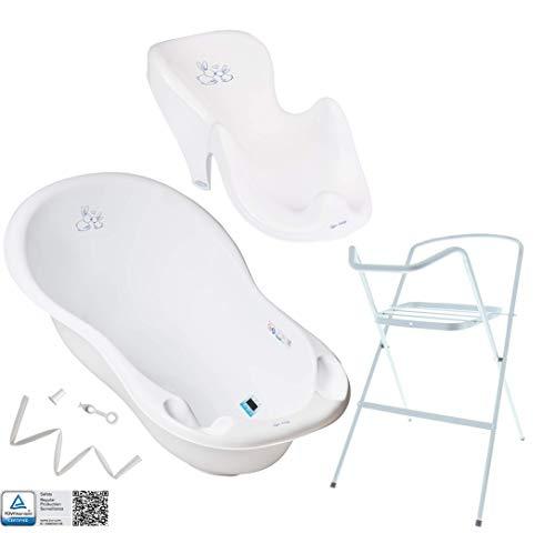 Baignoire Bébé avec Support - Baignoire Haute Complète avec Thermomètre et Égouttage avec Siège de Bain Amovible - Support Haut de Sécurité de Baignoire pour Enfant Bébé - 4 pièces