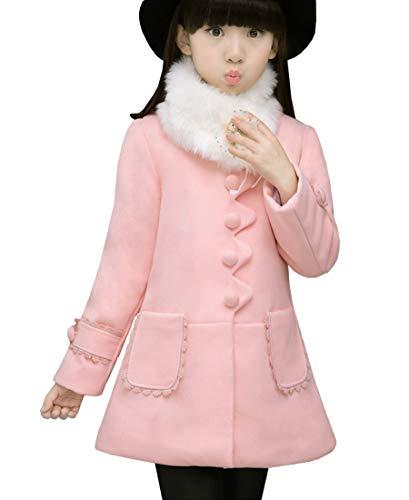 Ankoee Chaqueta de Invierno Elegante Chaqueta de niña (Rosa, 140/9-10 años)