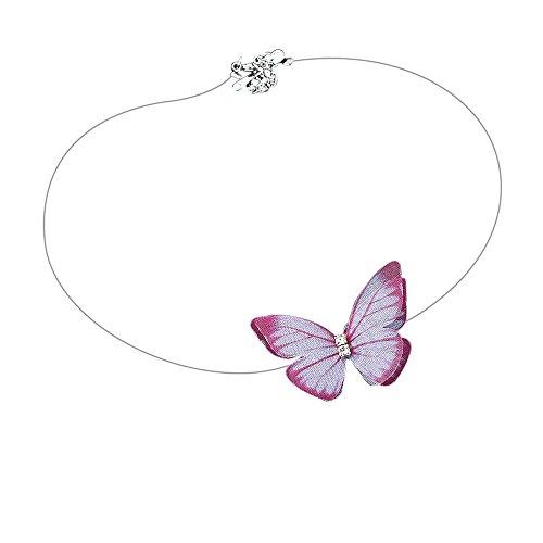 ❤JUSTSELL Halskette für Damen,Frauen Mode-Design Kette Klassische Chiffon Dreidimensionale Schmetterling Kurze Halskette Populäre unsichtbare Fisch-Linie Choker Temperament Schmuck