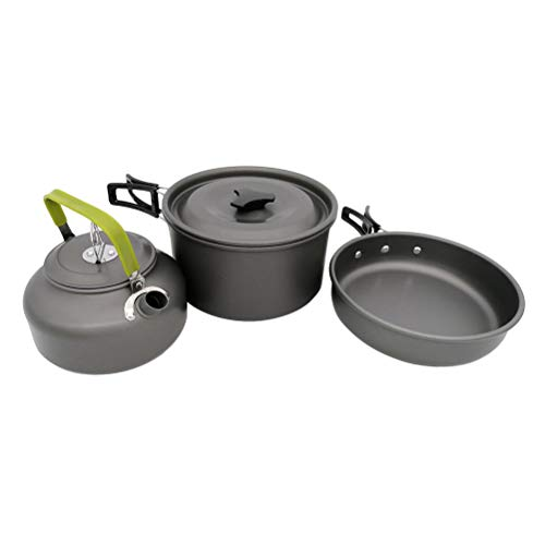 LIOOBO Outdoor Cookware Set Camping Pot Kettle Pan Wild Cooking Set for 1 to 3 Person 8 Pcs