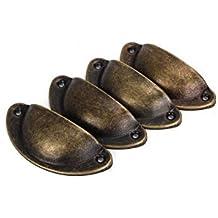 Mango Metal Armarios de Cocina Muebles–Armario de medicinas de acero iable 4pcs Vintage Pomos Tiradores Bronce Envejecido