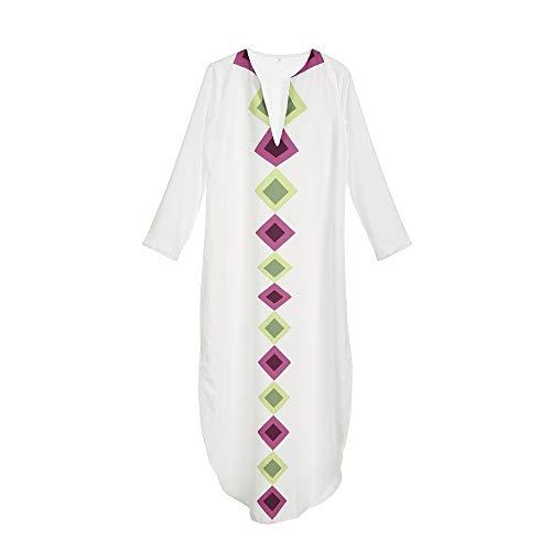 Damen Kleid Sommer Damen Beiläufige Lose Maxi Wrap Langes Kleid Plus Size Frauen Langarm V-Ausschnitt Einfache Geometrie Muster V Plunge Lange Kleider, XL