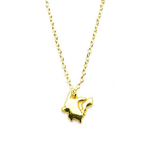 Mujer oficial inoxidable acero PVD oro plateado Pikachu colgante collar cadena