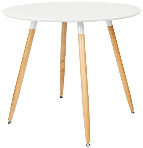 Relaxdays Runder Esstisch ARVID, Holz, HxD: 74 x 90 cm, Beine natur, Gummi Untersetzer, weiß