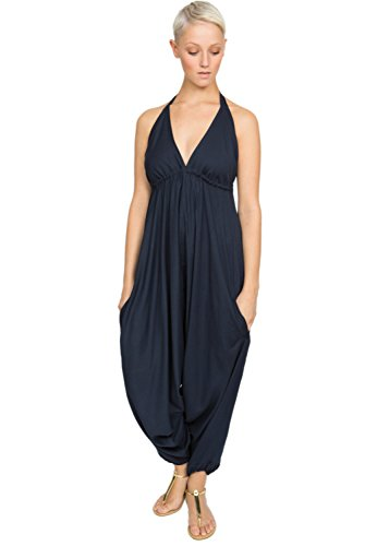 Harem Jumpsuit (Einteiler mit Haremshose und Nackenband, marineblau)