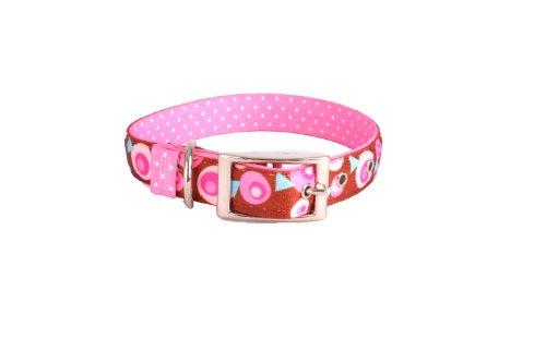 Yellow Dog Design Uptown Hundehalsband, Größe M, Metro Pink/Braun auf Rosa mit weißen Punkten