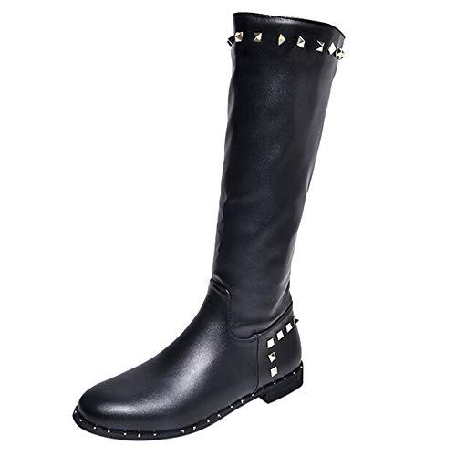 Stiefel Damen Flach,Damen Freizeitschuhe Overknee Stiefel Lange Tube Stiefel stricken flach mit Stiefeln Warme Schuhe Outdoor Stiefeletten Elegant Boots Mädchen Stiefeletten Damen Braun Leder Felicove