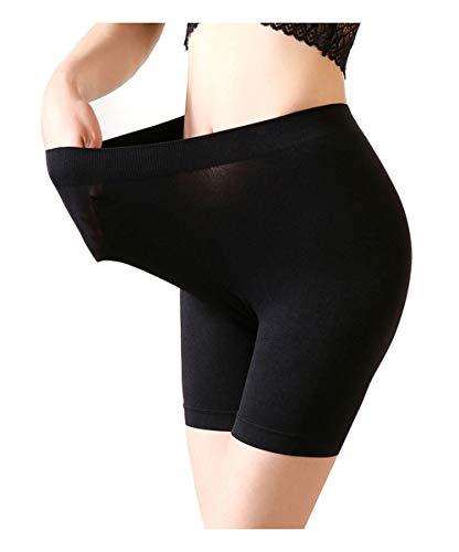Mangotree Damen Nahtlose Boy-Shorts 4-Wege-Stretch Mittlere Länge Sicherheits Yoga-Boxershorts Hipster Shorts (Einheitsgröße (Taille 26-34 Zoll), Schwarz) -
