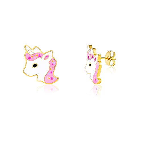 VU100 Unicornio Pendientes de tuerca para niñas niños hipoalergénico oro unicornio joyas cumpleaños fiesta regalos