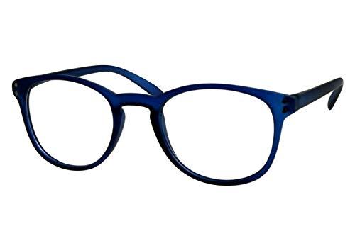 Lesebrillen Damen Herren meerblau transparent große runde Gläser runde leicht ovale Form schmale Bügel Oberflächje matt Lesehilfe Sehhilfe 1.0 1.5 2.0 2.5 3.0 3.5, Dioptrien:Dioptrien 1.5