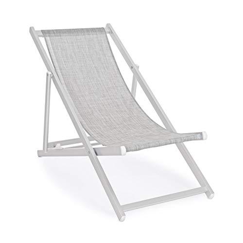 ARREDinITALY Lot de 4 chaises Longues Pliantes en Aluminium et textilène Gris