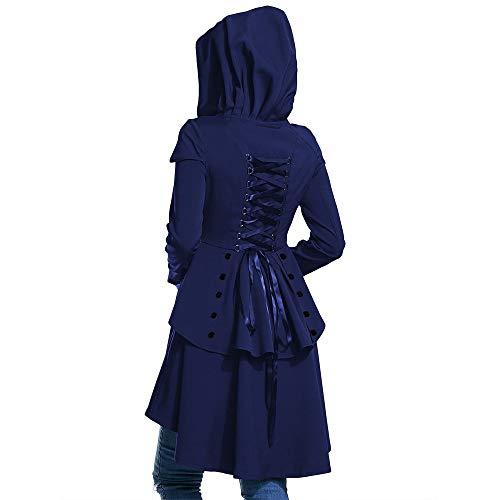 Yutongyi Legere Kleidung Layered Lace Up High Low Mantel mit Kapuze Langer Mantel Einzelne Schaltfläche Floral Langer Mantel Kragenlose Front Blazer lang offenes Turndown Frauen Angestellte - - Knopf-manschette-wolle Blazer