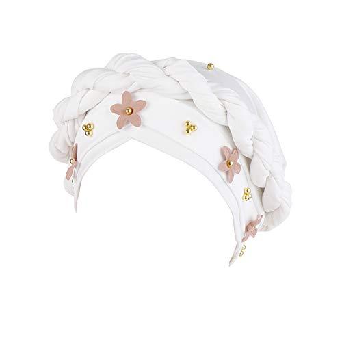 CHIRORO Damen Kopftuch Blumen Twist Perle Turban Hut Muslimischer Bandana Chemo Cap Stirnband Schal Headwrap Kopfbedeckung Für Krebs, Haarausfall, Schlaf,Weiß
