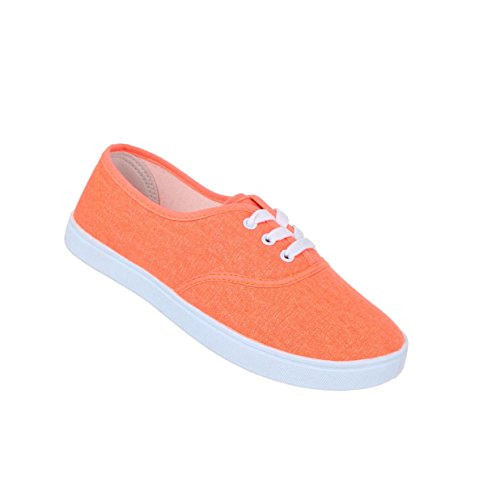 Damen Schuhe Freizeitschuhe Schnürer Sneakers Orange