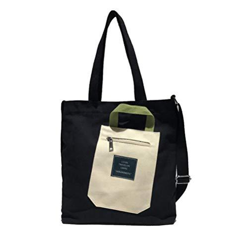TENDYCOCO Leinwand umhängetasche mode große kapazität einzelne umhängetasche tragbaren griff tasche messenger einkaufstasche mit reißverschluss für frauen mädchen (schwarz) -