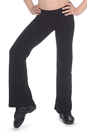 Dance Freestyle Kostüm - Roch Valley Damen Ctjazz Hose aus Baumwolle/Lycra Bootcut Jazz Pants M Schwarz
