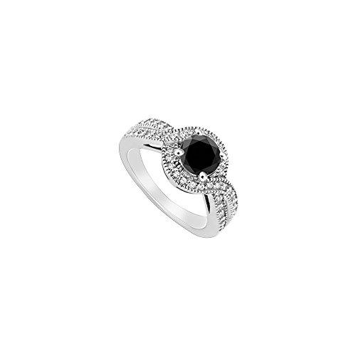 ngagement Ring 14K White Gold 1.33 CT TGW (Black Diamond Halo-ring)