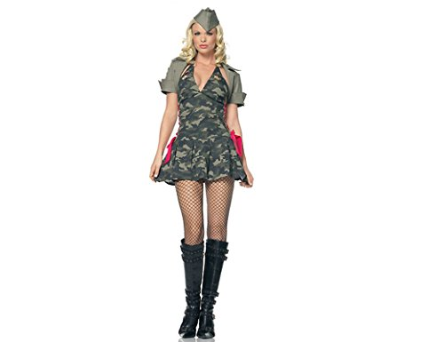 Halloween-Kostüm- Damen- Armee-Tarnung -Kleid -Abendkleid - Rollen-Spiel -Party- Armee-Militär Cadet Tarnung Outfit (Medium)