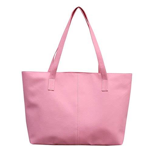 Handtasche Damen stilvolle wasserdichte Reißverschluss Tasche Reisetasche Leder Schultertasche High Capacity Messenger Bags Pink -