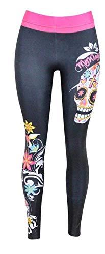 HaiDean Damen Leggings Gedruckt Gemustert Chic Stretch Jungen Bleistifthose Trousers Elastische Taille Slim Fit Freizeithose Jogginghosen (Color : Totenkopf, Size : 36)
