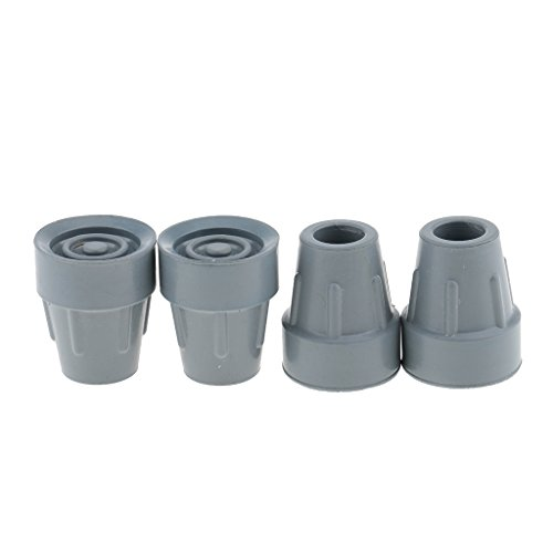 MagiDeal 4 Stück Anti-Rutsch Gehhilfenfuß für Gehstöcke Gehhilfen Gummi Krücke Tipps Gehstock Tipps - Grau