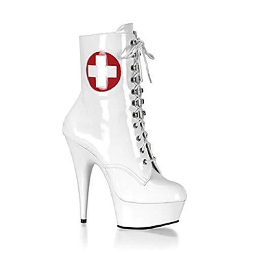 Botas de Mujer Botas Sexy Tacón de Aguja/Plataforma Remache Botas de Cuero de Charol/Zapatos con luz/Zapatos...