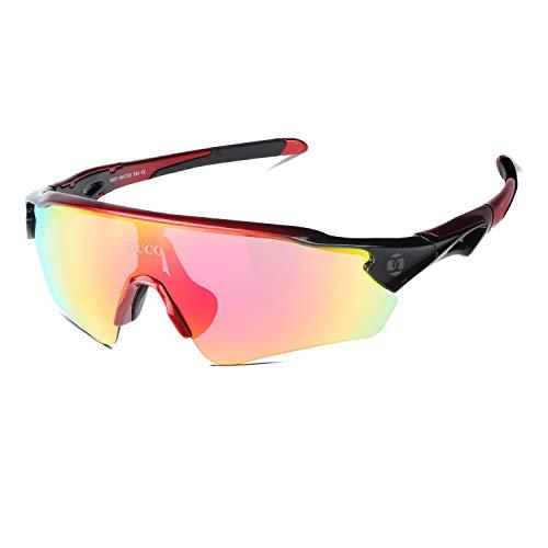 DUCO Radsportbrille Outdoor Sonnenbrille für Sportler polarisierte 5 austauschbare Gläser UV400 0021 (rot)