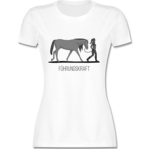 Reitsport - Führungskraft - M - Weiß - L191 - Damen T-Shirt Rundhals