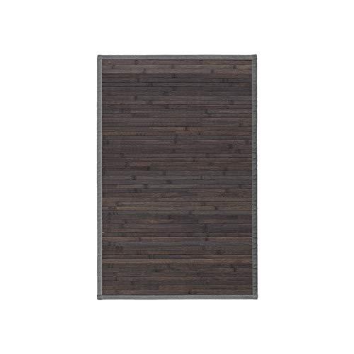Alfombra de Salón o Comedor, Gris Oscuro, de Bambú Natural 60 X 90cm Natur, 60x90 - Hogar y Más