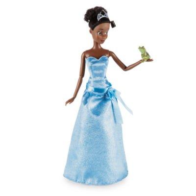 Tiana Classic Puppe mit einem glitzernden blauen Kleid und trägt Prinzessin Naveen in (Prinzessin Tiana Kleid)