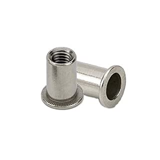 M5 Cylindrical Steel Large Head Rivnuts - Rivet Nuts - Nutserts - Blind Nuts - Pack of 10
