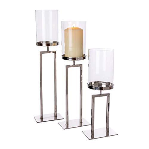 Pureday Windlicht New York - Kerzenhalter - Metall Glas - Silber