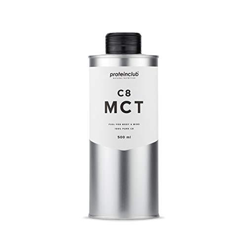 C8 MCT Öl - 100% C8 Caprylsäure - 100% aus Kokosöl - Bulletproof Coffee - Ketogen - Vegan - Low Carb - Hergestellt in Deutschland - 500 ml - proteinclub