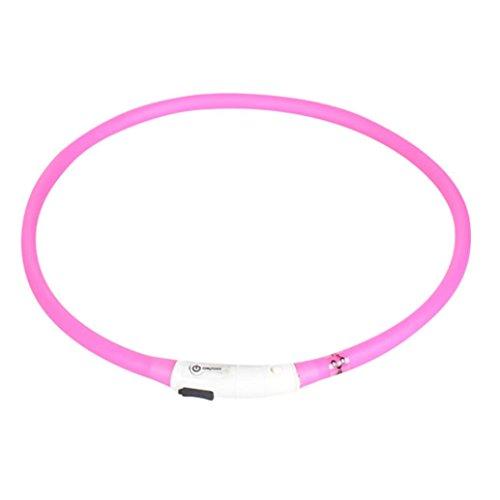 collares para mascotas collares luminosos para perros led electrico con descarga recargable USB impermeable collar de luz intermitente perro de seguridad 50cm Sannysis (Rosa)