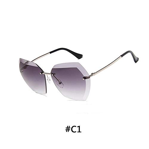 XIAOXINGXING Vintage Randlose Sonnenbrille Damen Markendesigner Übergroße Sonnenbrille Weibliche Sonnenbrille for Damen Mirror Shades UV400 (Lenses Color : 1)